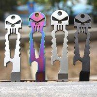 Wholesale Amazing Outdoor Stainless Skull EDC Survival Pocket Tool Key Ring Chain Bottle Opener Multi functional