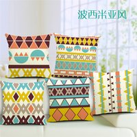 achat en gros de taies d'oreiller géométriques-1 Pcs Coton Linge Carré Design Throw Pillow Case Housse de coussin décoratif Housse de protection Bohemian Style Simple Geometric patterns to Choose