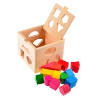 baby shape sorter - 13 Holes Intelligence Box For Shape Sorter Cognitive Creative Colorful Wooden Building Block Baby Kis Education Toys D16