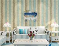 Wholesale new style european Wallpaper Mediterranean style vertical stripes Retro Blue retro wooden berdroom living room wallpaper Non woven wallpaper