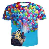 Shirt de douille d'impression des animaux gros Avis-Vente en gros-2016 Designer été Designer 3D drôle ballons colorés imprimé T-shirt Femmes O-cou manches courtes Emoji Harajuku Tee shirt Tops