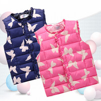 Wholesale Children Clothing Winter Outerwear Coats Stylish Animal Butterfly Princess Girls Vest Kids Jackets Baby Girl Warm Waistcoat