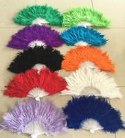 Wholesale wedding colors feather folding hand fans dance fan