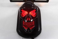 Wholesale Modified electroplating black skulls brake light electric vehicle license plate light for Harley signal light motorcycle accessories