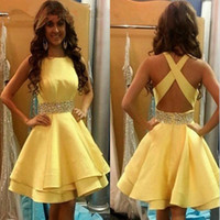 Wholesale Real Images cheap homecoming dresses jewel neck beaded sequins sash party gowns criss cross back satin short prom dress