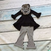 bell scarf - FALL Winter scarf set children suit baby girls black striped Bell bottoms cotton pieces white black pants boutique clothes