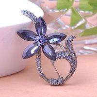 Compra Ramillete grande-Marca azul grande de lujo de cristal de la vendimia de la joyería broches de la boda Ramo Ramillete Broche Lote Rhinestone Flor Camellisa Mix