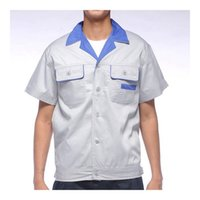 Wholesale Lstest Version Work Uniform Short Sleeve Tops Summer Vehicle Repair Welding Overalls Superior Fabric Full Size Light Grey Blue Collar