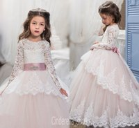 Wholesale 2017 Lace Flower Girl Dresses for Weddings Blush Pink Long Sleeves Ball Gown Princess First Communion Dress Child Party Formal Wear Gowns