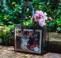 Wholesale Flowers bag transparent bag beach one shoulder bag lash package