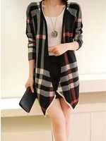 Wholesale Women New Winter Cardigans Plaid Knitted Long Sleeve Fashion Sweater Knitted Casual Sweaters