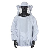 beekeeping hat veil - Freeshipping Durable Cotton White Protective Beekeeping Jacket Veil Dress With Hat Equip Suit Smock New Arrrival