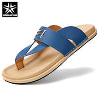 Wholesale Fashion PU Men Flip Flops EU New Summer Design Metal Deco Man Beach Casual Sandals Flat Shoes Blue Orange