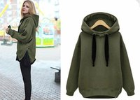 Pullover arm hoodie - Women Hoodies New Winter Autumn Arm Green Loose Hooded Jacket Thick Velvet Long sleeve Sweatshirt