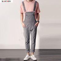 Cotton bib corduroy - new men s clothing Blue corduroy fabric Slim leg straps Siamese slacks bib pants jumpsuit singer costumes Plus Size