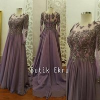Wholesale Lace Beaded Arabic Muslim Evening Dresses Sheer Neck Long Sleeves Chiffon Prom Dresses Sexy Formal Party Gowns