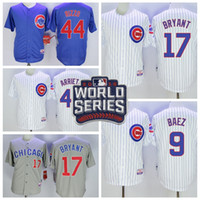 Wholesale Men s Chicago Cubs Kris Bryant White Jersey with World Series Patch Cheap Baez Rizzo Arrieta Jerseys are Available