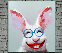 Wholesale Cartoon Happy Rabbit Glasses Pure Hand Painted Modern Wall Decor Abstract Animal Art Oil Painting High Quality Canvas customized size a Da