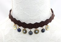 acrylic casting resin - Brown filligree lace choker necklace with natural stones Leather Cord short stamp semistone choker round casting charms choker necklace