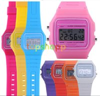 alarm clock cheap - Fashion Men ultrathin Led Watch alarm clock Men women F W watches Cheap F91W fashion thin LED Silicone watches