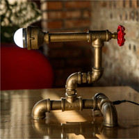 Wholesale DIY Handmade Unique Vintage Lightings Water Pipe Desk Lamps Table Lights Pipe Lamps Holiday Bar Light