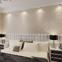 Wholesale New European Vintage Luxury Damask Wall paper Embossed Textured Wallpaper Rolls Home Decoration Gold Silver White