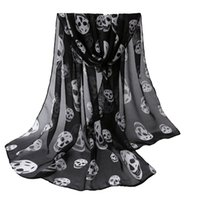 Cheap Wholesale-Autumn Womens Scarf Girls Skulls Printed Black Long Soft Scarf Shawl Girls Neck Scarf