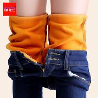 alpaca pants - Alpaca velvet Warm Jeans women with high waist stretching tight black jeans female winter velvet pencils skinny jeans Pants