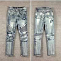 acid wash clothing - US SIZE hip hop clothing men rockstar designer brand slp acid wash moto distressed ripped skinny denim biker jeans slim