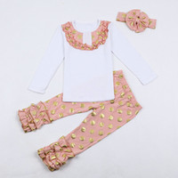 american girl headbands - hot selling Girls ruffle clothing set bow headband gold sequin pants polka dots girls sparkle outfit