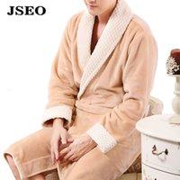 Wholesale JSEO Men Plush Shawl Collar Kimono Robe Classical Sleepwear Flannel Bathrobe Fleece Robes Spa Woven Bathrobe
