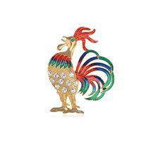achat en gros de animaux de la ferme de poulet-100pcs / lot coloré bantam coq d'or broche de poulet animaux d'élevage de bétail claire cristal strass Broche Broches