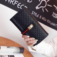 La nouvelle marque de mode embossage pu cuir femmes portefeuilles longues haute qualité double couche sac à main d'embrayage tirette # 68069
