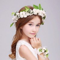 Wholesale Children s flower head flower headdress children s aesthetic bridal wristbands suits children s dress accessories headdress sweet