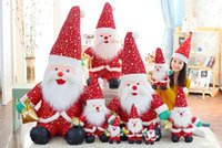 Wholesale 2016 Winter Large Cartoon Christmas Plush Doll with Big Hat CM Red Broken Pattern Santa Figure Toy for Christams
