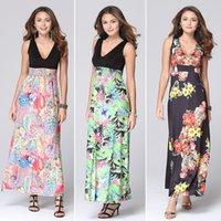 Wholesale Burst fashion sleeveless V collar dress printed in Europe and the United States women s dress long skirt printed princess skirt