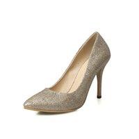 Wholesale Women High heeled Shoes Woman Pumps Wedding Shoes Fashion Sexy Women Shoes Gold Office High Heels Ladies Shoe Women Party Shoe
