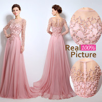 Wholesale Sequin Cap Cheap - REAL 2016 Elie Saab Long Evening Dress Illusion Jewel Neck Pearls Sash A-Line Floor Length Tulle Cheap Celebrity Party Gowns Prom Dress