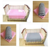 baby thick blankets - Baby Bedding Blanket knitted Cotton layers Thick Stripe Blanket Super soft children Throws Cartoon cm G Newborn Bed Sheet