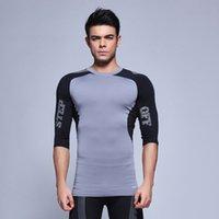 Wholesale Spandex half sleeve Compression Shirt Men half Sleeve Rashguard Fitness Bodybuilding T Shirt Clothing Workout Tee Shirts