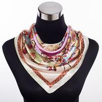 Wholesale New satin small square silk scarf flower floral print Vintage Charmeuse quare scarf silk satin cm silk scarves shawl