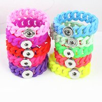 Wholesale assorted women s silicone ginger mm snap buttons chunk charms bracelets bangles Hollow brand new
