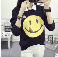 Wholesale Real cute smile and wind college female students loose long sleeved sweater cashmere sweater baseball size