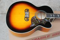 Wholesale Inches SJ Cherry Sunburst Single Cutaway Hollow Body Acoustic Electric Guitar Spruce Top Maple Back Sides