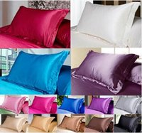 Wholesale 2017 Multiple Colors Silk Pillow Cases Double Face Envelope Silk Pillowcase High Quality Charmeuse Silk Satin Pillow Cover