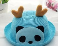 Wholesale 2016 male and female antler panda sunscreen cap baby straw hat sun hat child sun hat