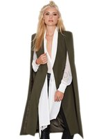army poncho - 2016 Fashion Women Overcoat Ponchos Long Vest Autumn Spring Open Stitch Cloak AWC0020