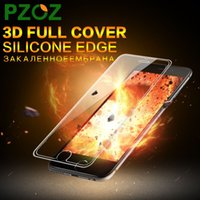 Wholesale PZOZ Tempered Glass For iphone s Screen Protector Film Silicone Edge D Full Cover Anti Blue Light For iphone s plus ipone