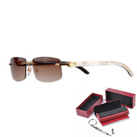 Wholesale Rimless Luxury Sunglasses for Buffalo Horn Glasses Men Women Sun Glasses Brand Designer Best Quality with Box CT3524012