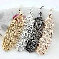Wholesale 2017 Fashion Earrings for Women Kendra Style Brand New Design Gold Silver Rose Black Scott Openwork Flower Frame Statement Dangle Earrings